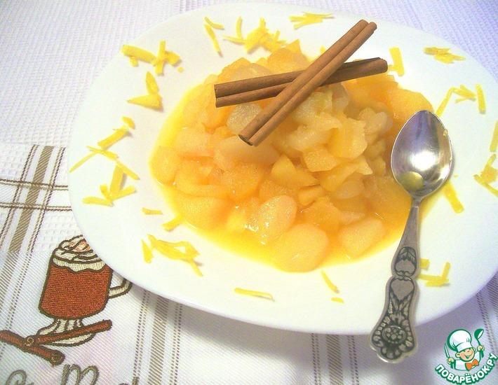 Рецепт: Яблочно-грушевое компоте с апельсинами