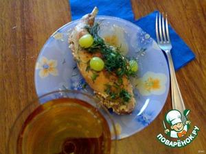 Подавать с белым вином, посыпав зеленью. На гарнир особенно вкусна будет вареная картошечка, рис, овощной салат.