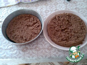 Beat the eggs, sugar, instant coffee and vanilla until fluffy. Add the flour, cocoa, soda and again vzbit. Bake the cake in a greased form. Cool and cut into 2 parts.