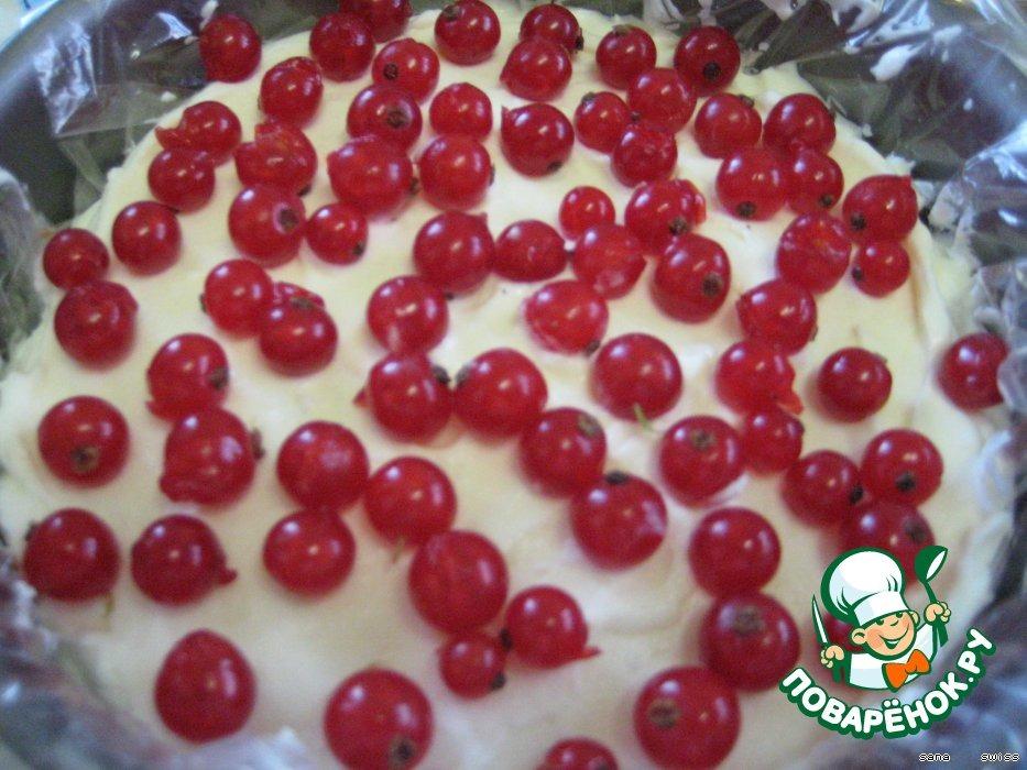 Творожный торт-десерт с желе из красной смородины