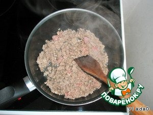 Minced meat fry in vegetable oil for 10 minutes, salt and pepper. Stir. I was minced pig beef, as well - whichever you like.