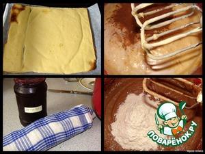 Вынимаем бисквит из духовки, выкладываем на мокрое полотенце и вместе с ним заворачиваем в рулет.   Духовку переключаем на 180*С.      И продолжаем приготовление шоколадного теста: добавляем какао-порошок, разрыхлитель и молоко - взбиваем,   затем в несколько приемов засыпаем 200 гр муки - взбиваем.