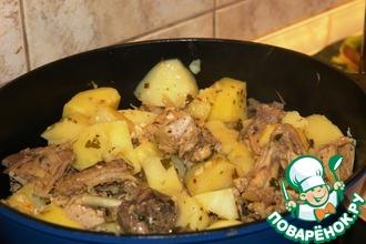 Рецепт: Цесарка тушеная с картофелем