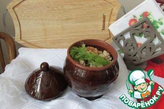 Рецепт: Перловая каша с грибами в горшочке