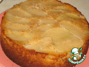 The finished cake let stand for 7-10 minutes in pan, then cover with a plate and flip the apples up.