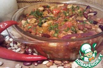 Рецепт: Чили из смеси фасоли с баклажанами