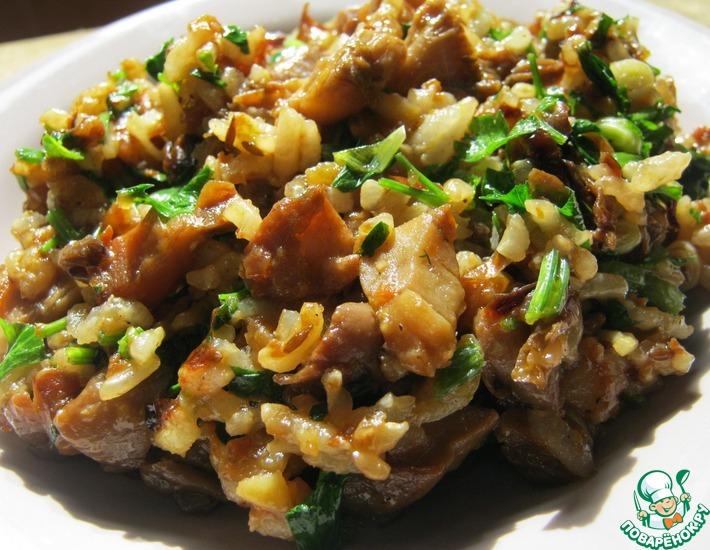 Рецепт: Жареные грибы с рисом и с зеленью