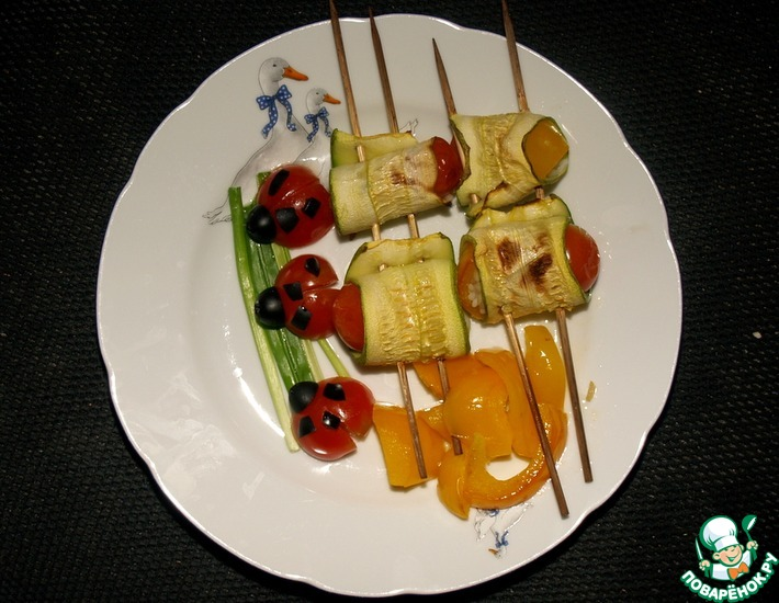 Рецепт: Рулеты из кабачков с рисом