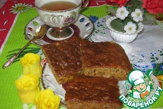 Рецепт: Постный пирог с апельсинами, орехами и цукатами