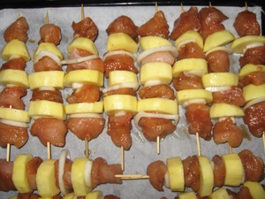 To put everything on the skewers, spread on sheet, put in a preheated 180-200*oven and forget for 1 hour.