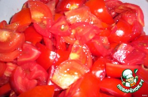 tomatoes cut into 4 pieces, slightly flatten with your hands , to squeeze the juice
