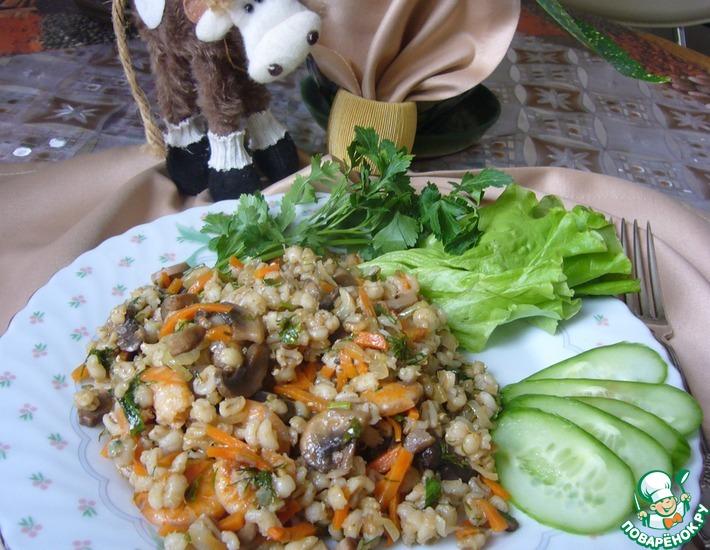 Рецепт: Перловая каша с креветками и овощами
