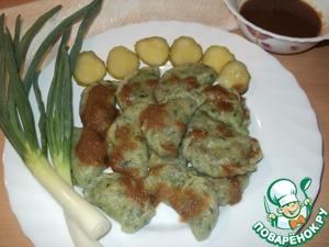 Рецепт Вареники со шпинатом, гречкой и солёными огурцами