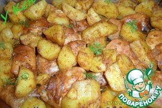Рецепт: Курица с картофелем в духовке
