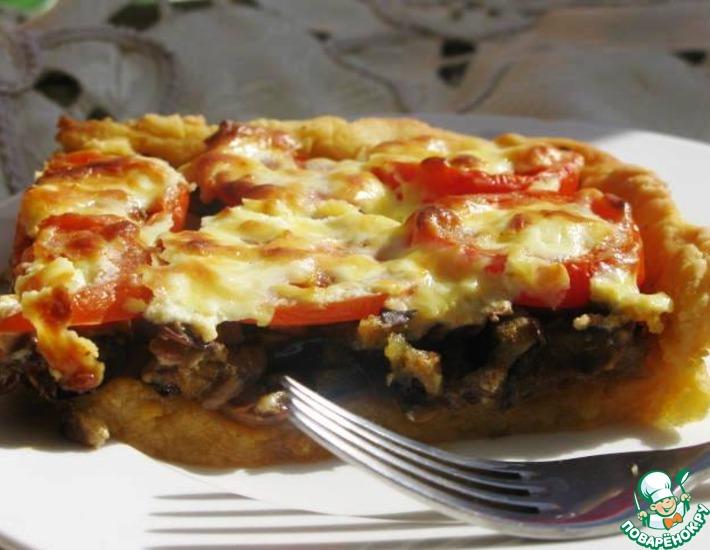 Рецепт: Деревенский пирог из картофельного теста с грибами и баклажанами
