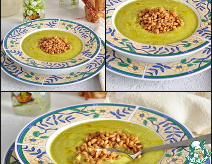 Рецепт: Цуккинево-яблочный суп-пюре с перловкой