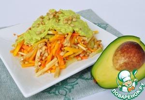 Рецепт Салат с ростками зеленой гречки под соусом из авокадо от Jesona Vale