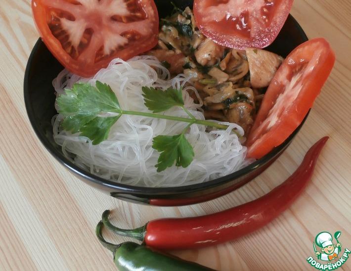 Рецепт: Куриное филе со свининой и грибами