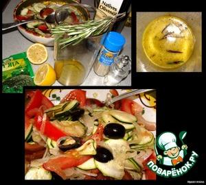 Готовим заправку: оливковое масло (думаю, можно и с растительным), лимонный сок, соль, перец белый, мяту и иголки розмарина складываем в блендер и все хорошо взбиваем.      Заливаем салат, аккуратно перемешиваем.