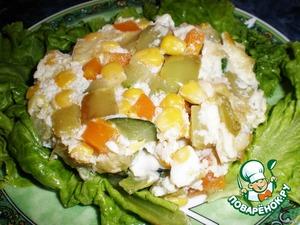 При подаче оформите закуску листьями салата.