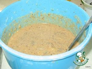 Сухофрукты нарезать, залить кипящим вином и оставить на 1-2 часа.   Все ингридиенты перемешать. Аккуратно добавить сухофрукты. Вино, в котором замачивались сухофрукты, тоже добавить в тесто.