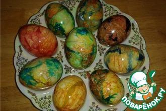 Рецепт: Пасхальные яйца Мраморные