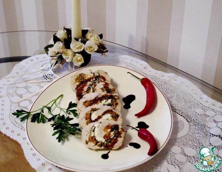 Рецепт: Куриные грудки с песто, шпинатом и рикоттой по-генуэзски