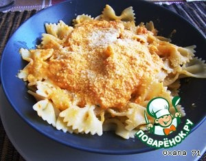 """Boil pasta, the best Farfalle (butterflies or bows, as they are called!).  Farfalle mix with the sauce, sprinkle the top with grated cheese """"Parmesan"""".   Buon appetito a tutti voi!"""