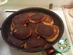 Fry both sides on medium heat until tender about 15 minutes on each side