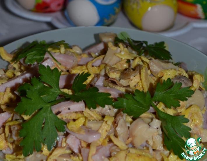 Рецепт: Грибной салат с блинчиками
