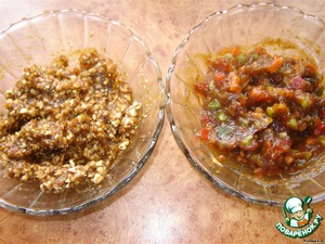 Half of the dates mix with nuts and another with candied fruit. I make two kinds of stuffing, because in our house, some civilians do not eat nuts.