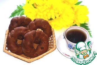 Рецепт: Кофейно-шоколадные бублики с изюмом