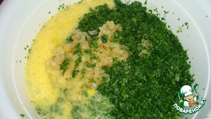 The eggs fried onions and add to greens.