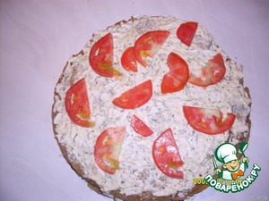 3 layer cheese again egg. Put the slices of tomato.