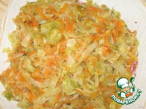 Приготовить начинку: на сковороде на растительном масле протушить мелко нарезанный лук, тертую морковь и капустку, нарезанную соломкой, добавить соль, перец, я еще легонько брызгаю уксусом (но это по желанию).