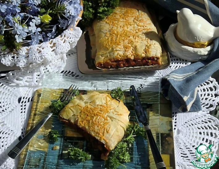 Рецепт: Овощной штрудель с базиликом в тесте фило