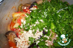 - add the hot peppers , herbs, garlic