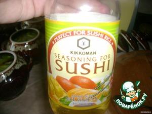 Затем киви. Поливаем соевым соусом и рисовым уксусом.   В духовку при 200°С на 60 минут.