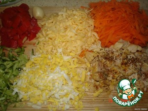To cut the chickens. fillet, sprinkle spices and squeeze through the press garlic, carrots, grated, cheese grater, tomatoes cut into cubes, egg, grated, cabbage, finely chop the cucumbers on a grater