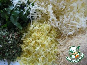 Перемешиваем сыр, измельченную зелень, лимонную цедру и сухари.