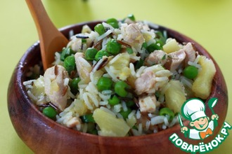 Рецепт: Рисовый салат с курицей и ананасами