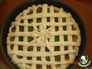 Раскатать тесто и уложить на противень, смазанный маслом,    уложить начинку, присыпать зеленью и уложить тонкие полоски из теста сверху.