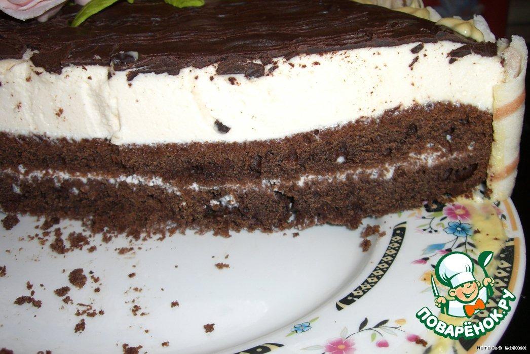 Торт шоколадный с творожным суфле