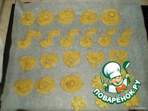 Put the dough in a pastry bag or syringe and deposited with any nozzle, at your discretion, on a baking sheet, covered with baking paper.  The first part of the test, then the second.