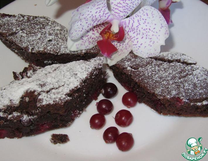 Рецепт: Шоколадка-клюковка (постный пирог)