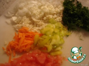 finely chop the carrot, pepper, tomato(without skin), onion, greens
