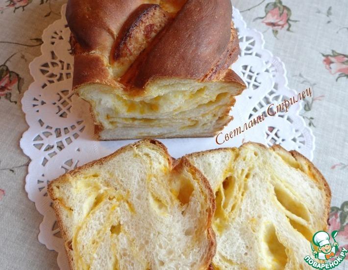 Рецепт: Сладкий мраморный тыквенный хлеб