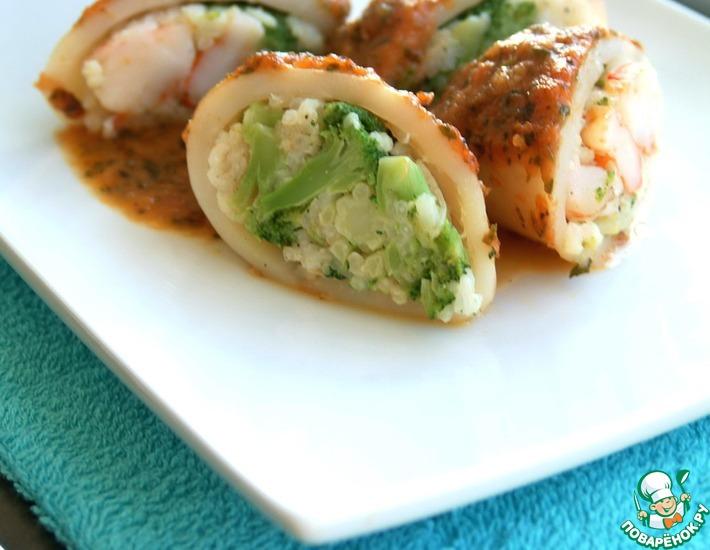 Рецепт: Кальмары с рисом, креветками и брокколи