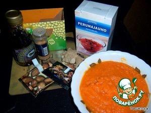В это время делаем начинку. Вот все основные ингредиенты: соевое молоко (у меня порошок), крахмал,тыквенное пюре, 1/2 стакана кленового сиропа (у меня золотистый со вкусом кленового сиропа), имбирь, 1 1/2 ч.л. корицы, 1/2 ч.л. соли, молотый мускатный орех и молотая гвоздика.