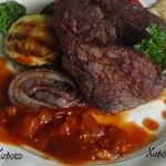 Говядина с овощами под соусом барбекю